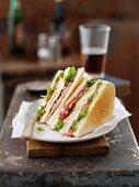 Ham and tomato sandwiches