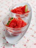 Watermelon granita with slices of melon