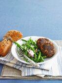 Lamb patties with bean and feta salad
