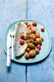 Sea bass with cherries and potatoes