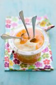 Semolina pudding with apricots