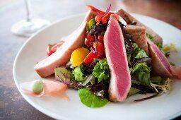 Seared Tuna Salad on a White Plate