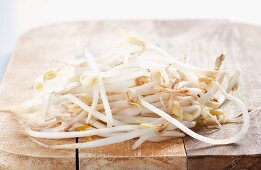 Soya bean sprouts on a wooden board