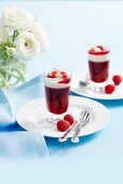 Raspberry jelly with whipped cream