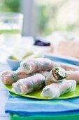 Vietnamese spring rolls with smoked salmon