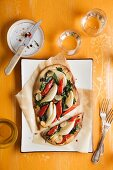 Vegetable pizza with fennel, peppers and spinach