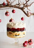 A Christmas trifle with custard cream, berries and fruit jelly