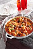 Chicken stew with tomatoes and olives