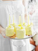 Passion fruit and white chocolate birthday cakes