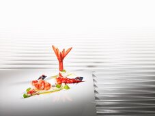 Carabiniero prawns cooked 'sous vide' with almond milk and honey vinegar