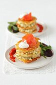 Potato pancakes with smoked salmon and egg