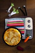Turnip tarte tatin on a crocheted place mat
