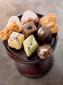 Assorted biscuits and petits fours on a cake stand