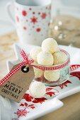 White chocolate truffles as a Christmas present
