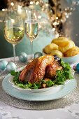 Guinea fowl with roast potatoes for Christmas dinner