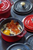 Oeufs en Cocotte with mushrooms and chorizo (France)