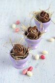 Mousse au chocolat in chocolate eggs