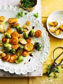 Glazed parsnips with Brussels sprouts