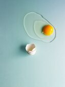 A raw egg on a pale blue surface
