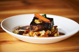 Red Wine Braised Beef Short Ribs with Whipped Parsnips and Winter Vegetable Ragout