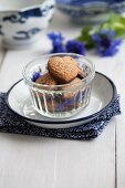 Heart-shaped chocolate and almond biscuits