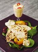 Tortillas with beans, peppers, spinach and chilli mayonnaise