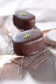 Filled chocolates with pistachios