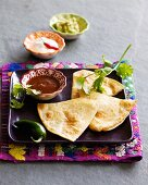 Quesadillas with three sauces