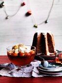 A pandoro and a peach-prosecco jelly with mascarpone