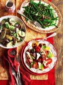 Various vegetable salads