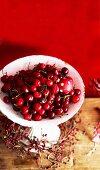 Fresh cherries on a cake stand