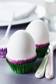 Paper truffle cases used as egg cups