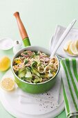 Ribbon pasta with tuna and courgettes