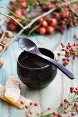 Rosehip tea with crystallised squash