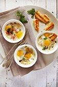 Quail eggs, bacon and mushroom cocotte