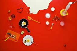 Assorted breakfast ingredients