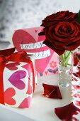 St. Valentine's Day arrangement with present