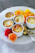 Spanish vanilla flans with marinated citrus fruits