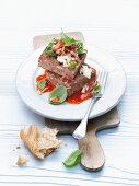 Porcini mushroom terrine with tomato sauce, feta and pine nuts