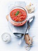 Cherry tomato and mango soup