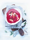 Beetroot soup with smoked trout