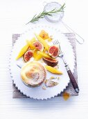 Honey and quark soufflé with rosemary
