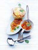 Quark soufflé with kumquat chutney