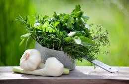Herbs and garlic on a wooden board in the garden