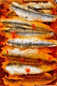 Sardine fillets with red chilli oil and chilli flakes