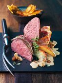 Saddle of venison with apple and Calvados sauce