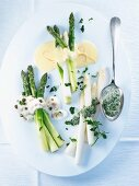 Asparagus with various sauces