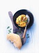 Turkey and mushroom spread with a bread roll