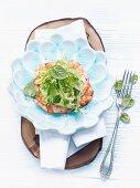 Jumbo shrimp Carpaccio with mint-pea puree