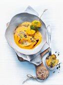 Hokkaido squash soup with squash chips